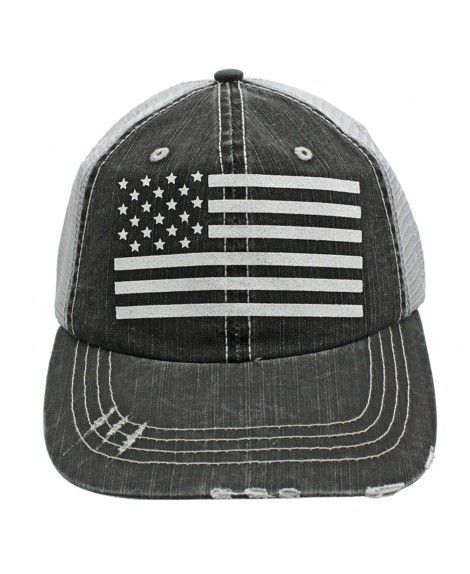 3fce87b91ae American Flag Patriotic Gift For Wife Mom Women White Glitter Distressed  Trucker Style Cap Hat