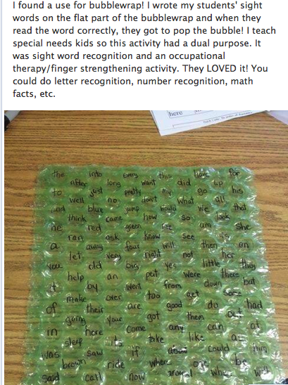 Sight words on bubble wrap!