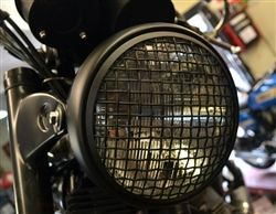 wire mesh cafe racer headlight halogen motocycle wire mesh cover black metal cb kz gs xs