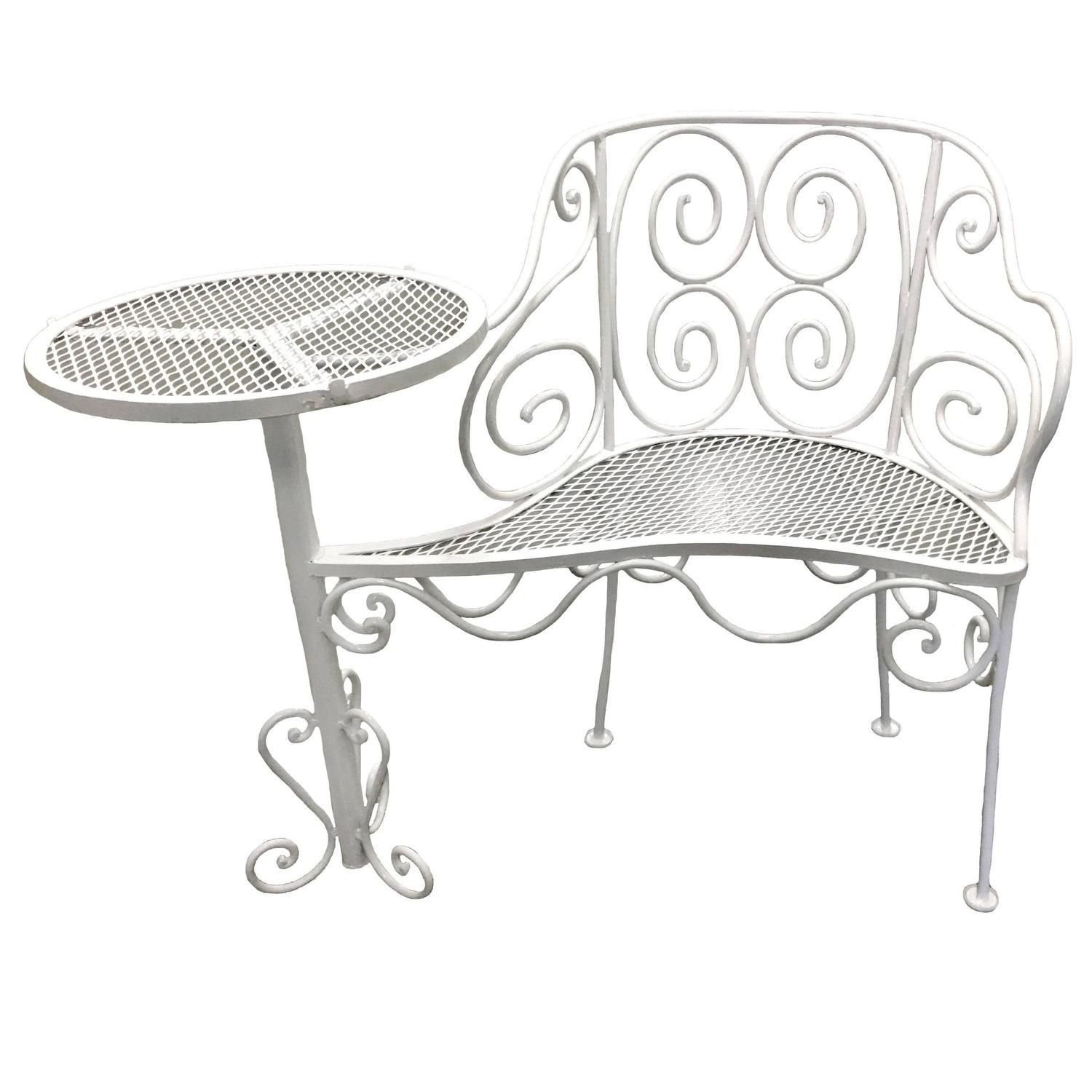 1950s Pair Of White Wrought Iron Metal Outdoor Garden Seats