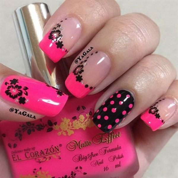 Hot Pink & Black Nails with Flowers and Dots Designs. - 50+ Beautiful Pink And Black Nail Designs Pink Black Nails