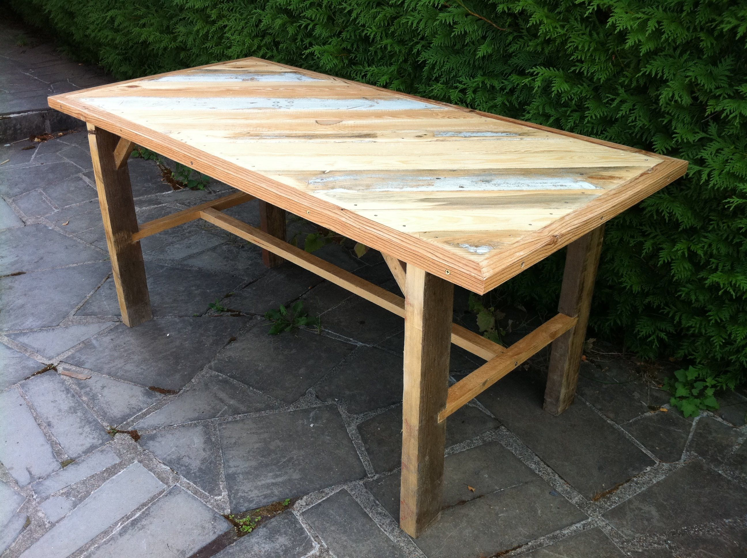 Fabrication d 39 une table solide avec du bois de recuperation partie 2 palette pinterest - Table avec palette en bois ...