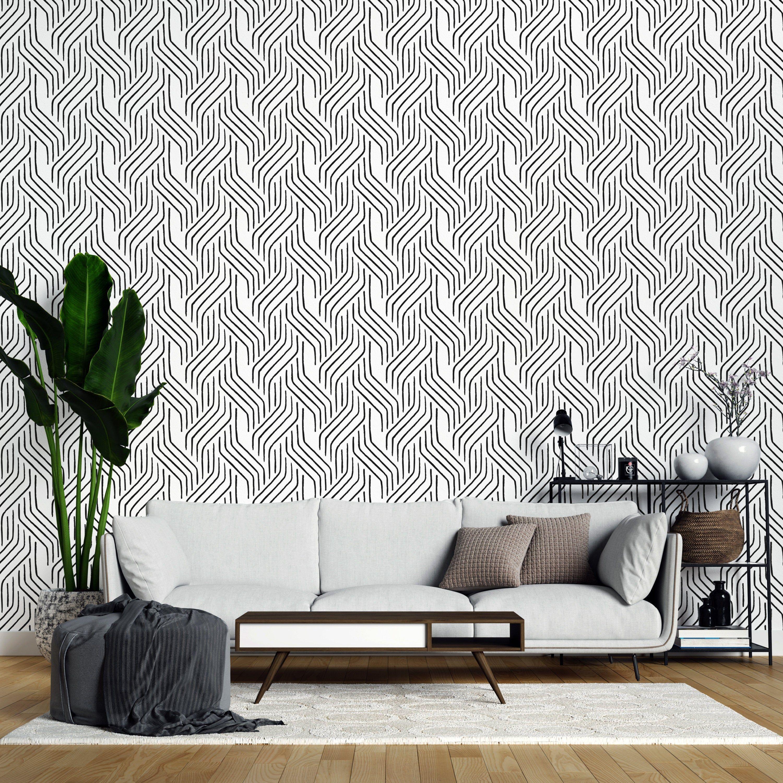 Seamless Line Pattern Removable Wallpaper Black And White Etsy White Pattern Wallpaper Removable Wallpaper Self Adhesive Wallpaper