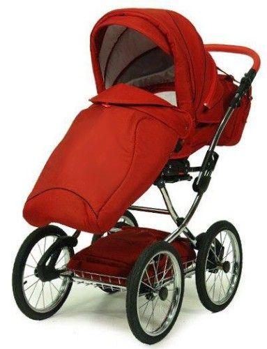 Kombi Kinderwagen Classico mit Wickeltasche, Sonnenschirm & Handwärmer, rot