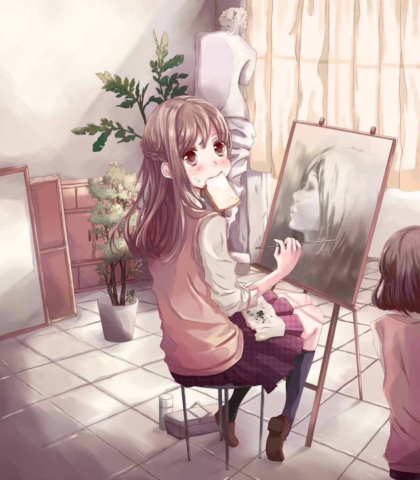 Anime Art Artist Drawing Art Class Easel Classroom Life Drawing Student School Uniform Toast Moe Cute Kawaii M