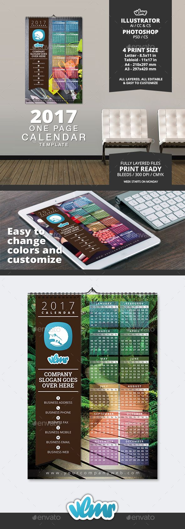 One Page Calendar Template  Ai Illustrator Template And
