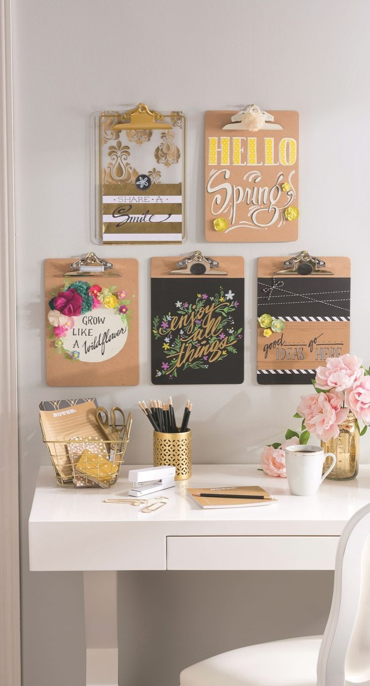 Office organization ideas diy clipboard wall art for Cheap office decorating ideas