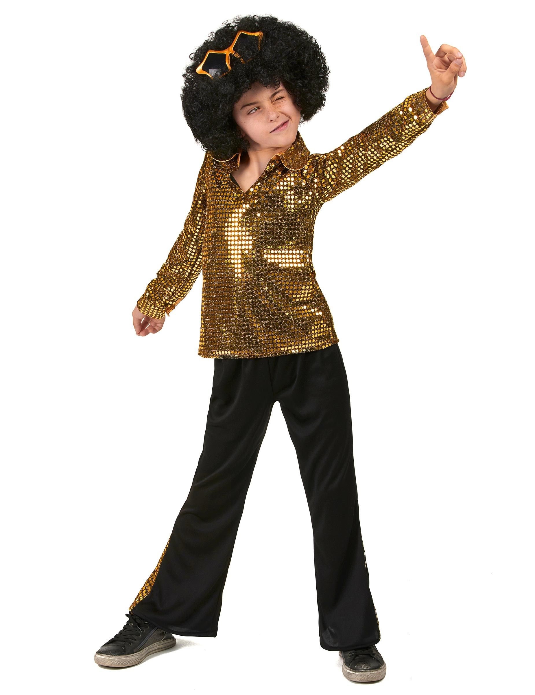 c7ffb44af38a1 Disfraz Disco Dorado niño   Este disfraz disco para niño incluye una  camiseta y un pantalón