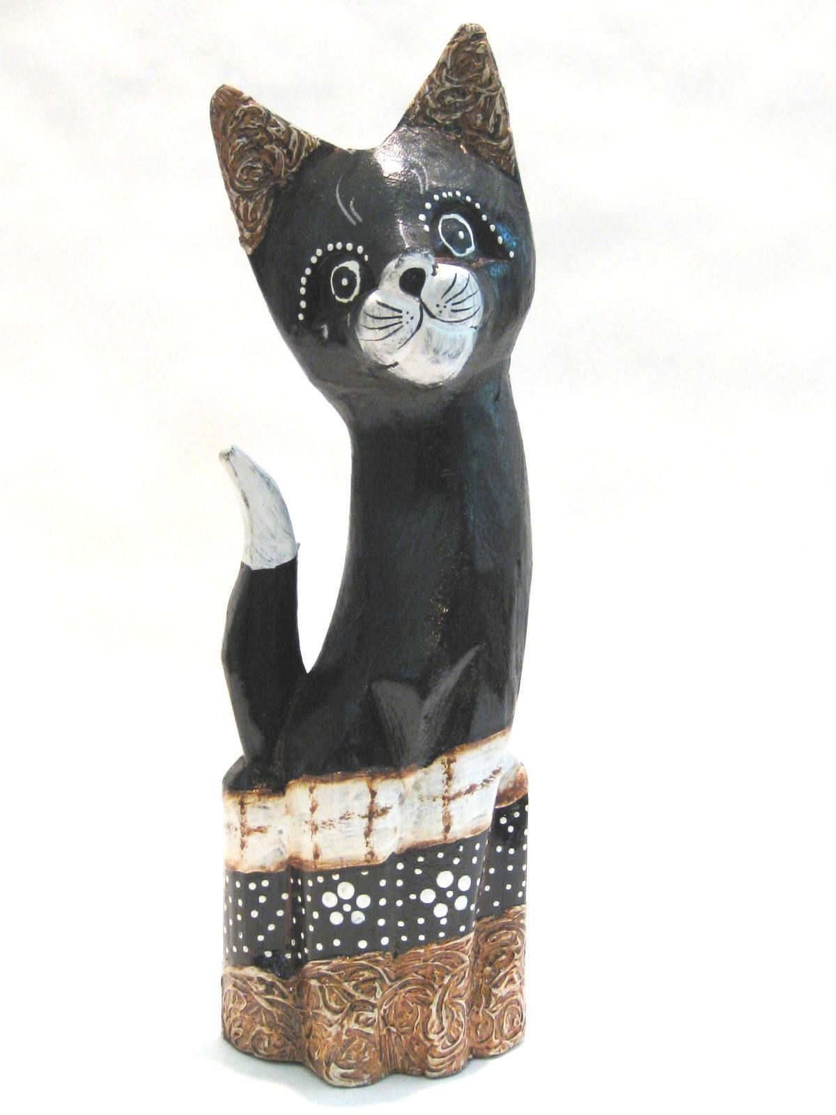 Wooden Cat Hand Carved Wood Bali Home Decor Sculpture ...