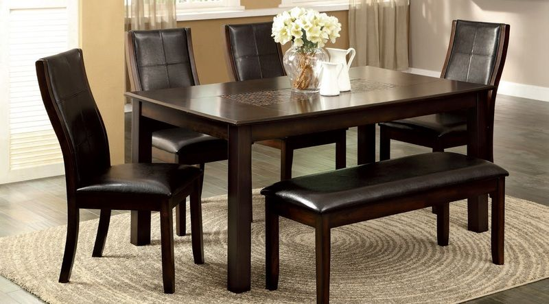 6 PC Brown Cherry Wood Dining Set Table Parson Chairs Leather Bench