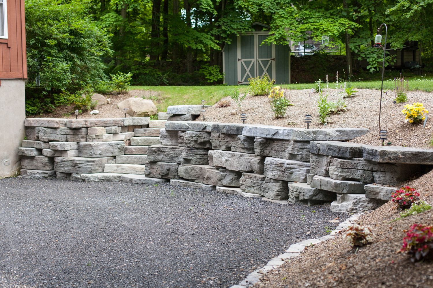 Rosetta Outcropping Retaining Wall And Steps In Highland Landscaping Retaining Walls Backyard Landscaping Backyard Ideas For Small Yards