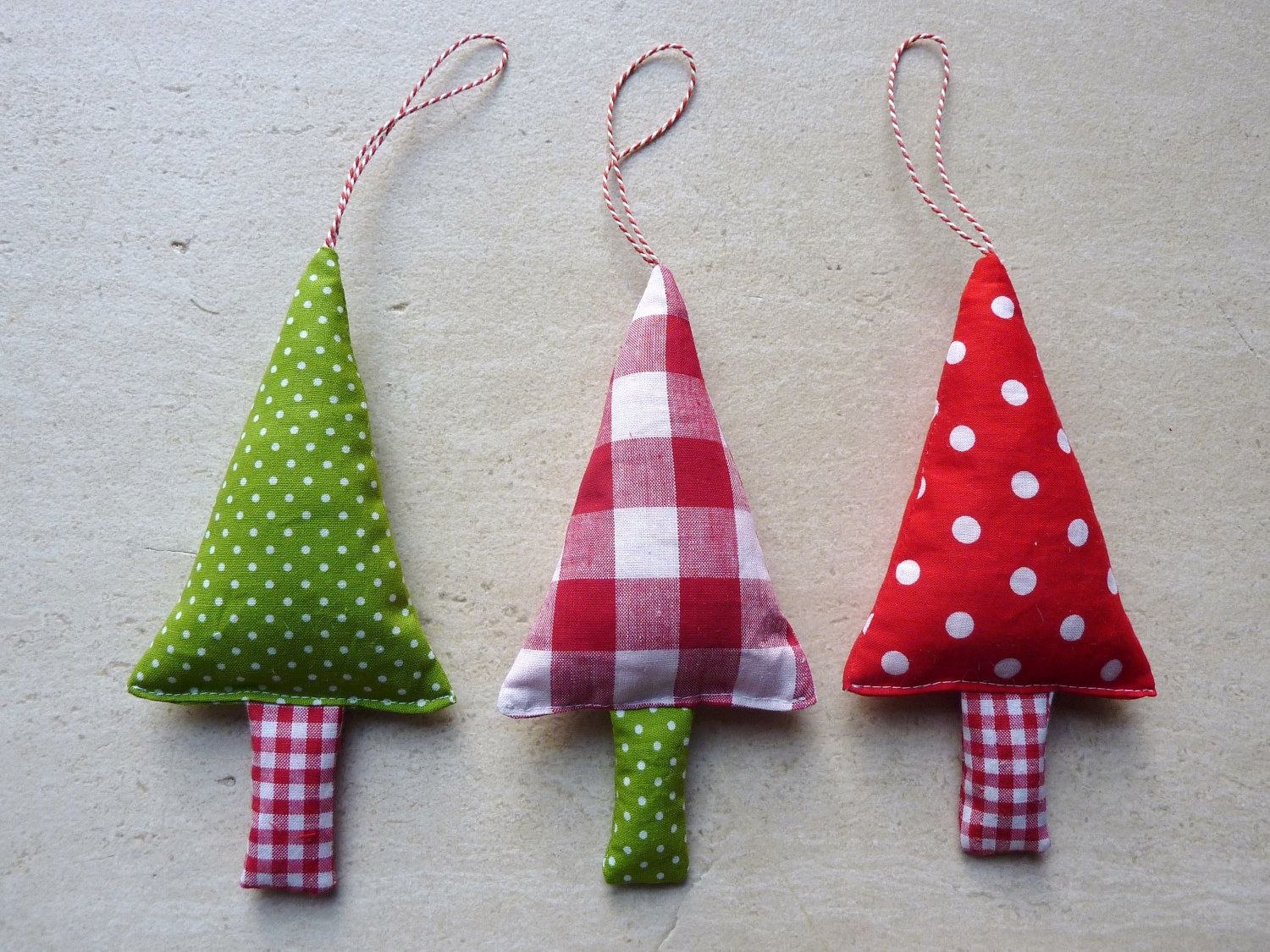 Fabric Christmas Ornaments Tree Decorations In Green Red And Etsy Fabric Christmas Ornaments Fabric Christmas Trees Christmas Ornaments