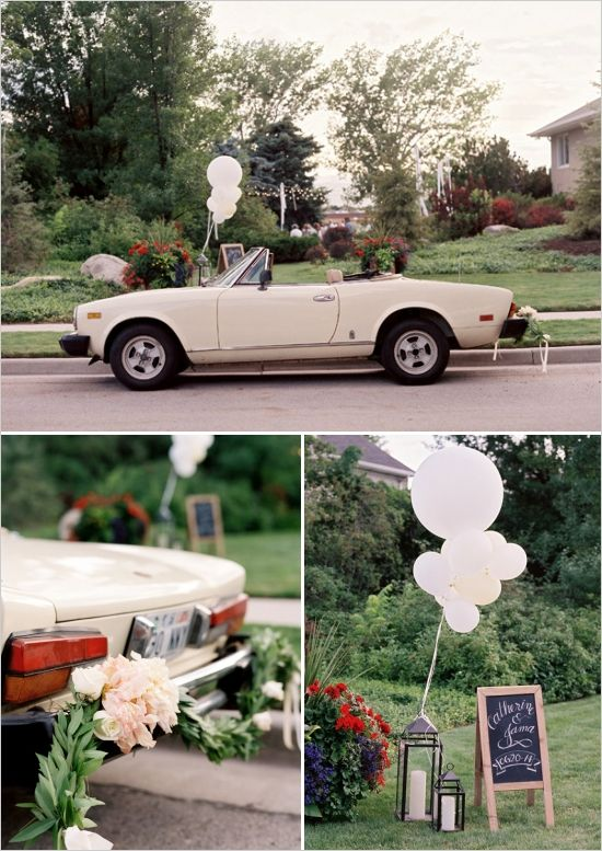 getaway car, wedding transportation, floral car garland #weddingchicks