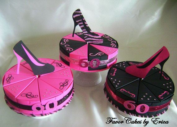 Pink and Black Shoe Theme Favor Box Cakes Please by FavorCakes