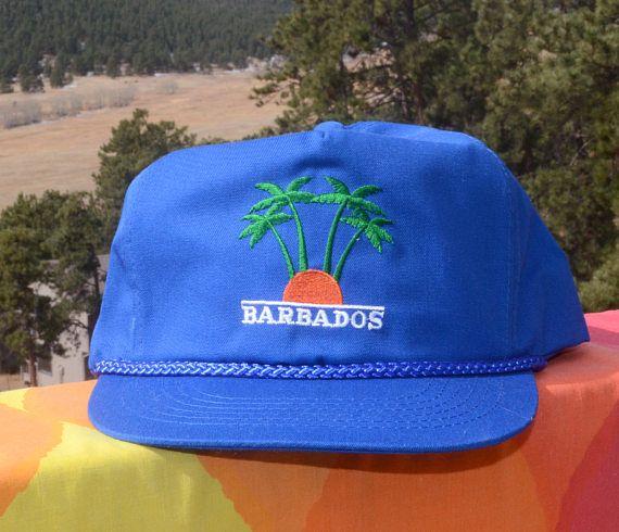 caa2ea27816b0d vintage 80s baseball cap BARBADOS sunset palm trees travel twill ...