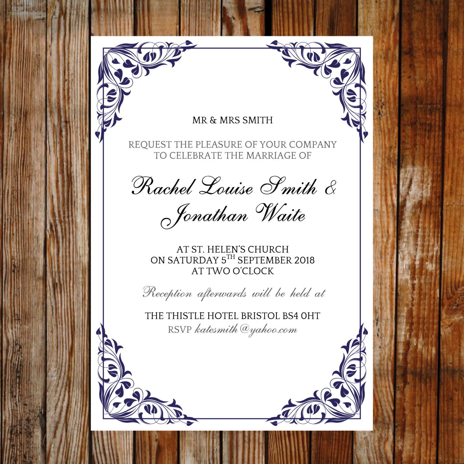 Wedding invitation template flora blue download printable wedding invitation template flora blue download printable microsoft word template ready to edit and print monicamarmolfo Images