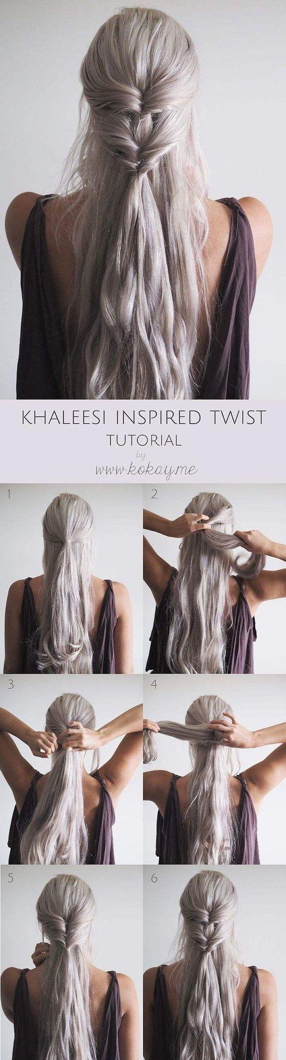 Easy half up half down hairstyles khaleesi inspired twist değişik