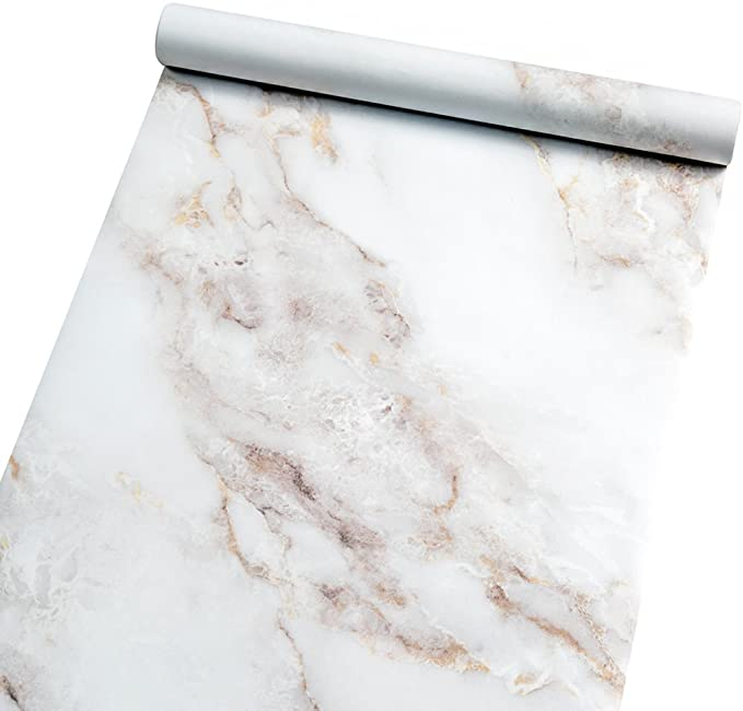 Amazon Com Marble Self Adhesive Paper Granite 35 4 X78 7 White Roll Peel And Stick Wallpaper Vin Marble Paper Sticky Back Plastic Bathroom Countertop Cabinet
