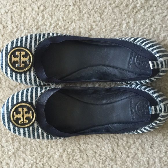 Tory Burch Caroline flats Navy blue and white stripe with gold logo on toe.  Elastic stretch around foot. Worn a few times, evident on the bottom Tory  Burch ...