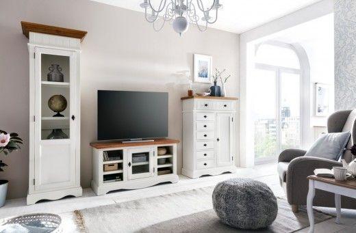 TV-Unterschrank Gotland Pinie massiv Holz TV Bank Schrank Lowboard ...