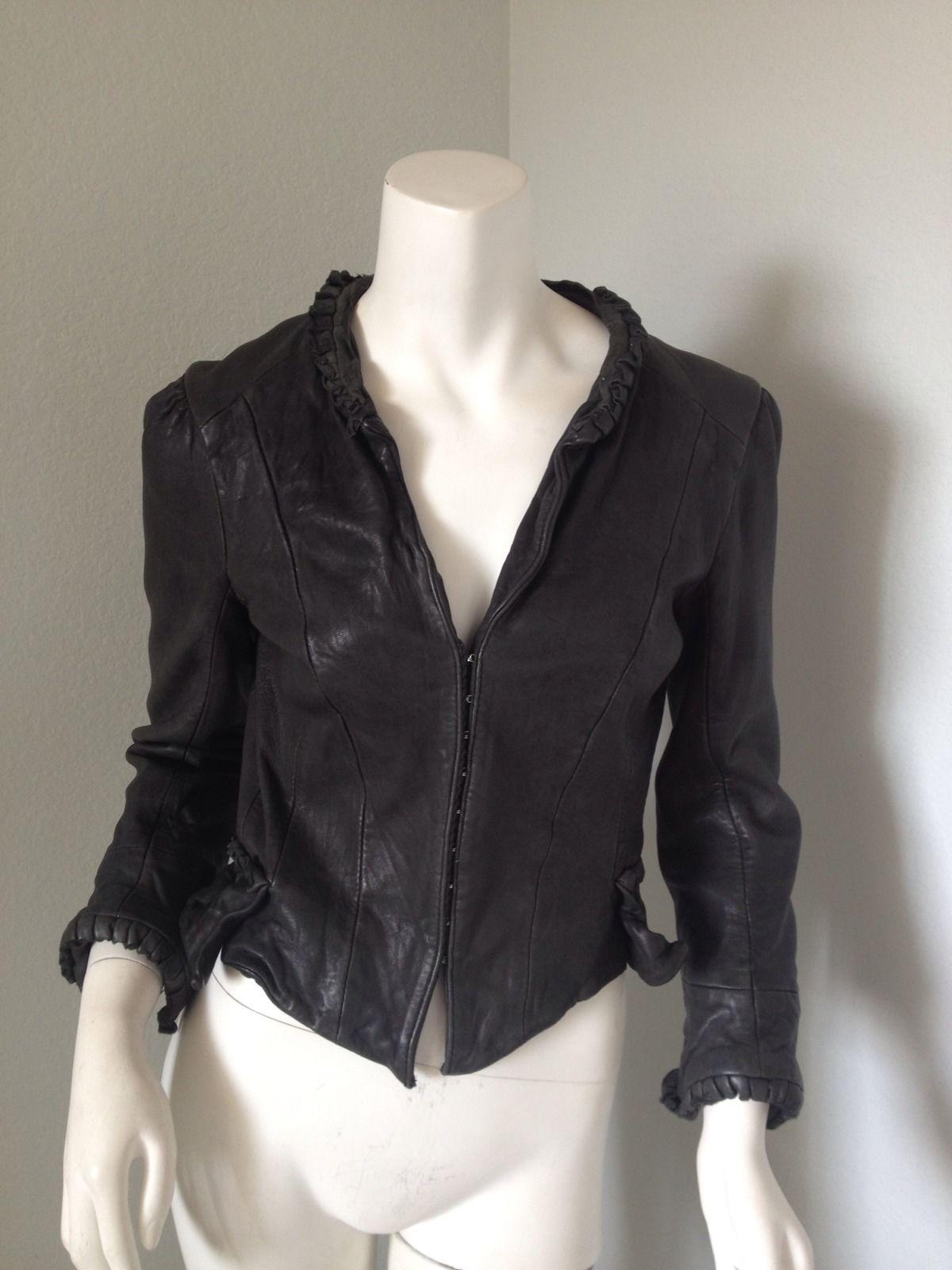 239da2464 Kate Moss TOPSHOP Victorian Leather Jacket Black UK 6 XS So RARE ...