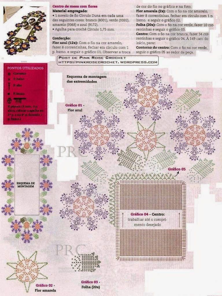 Croche e pontos centro de mesa com flores e folhas - Centros de mesa de ganchillo ...