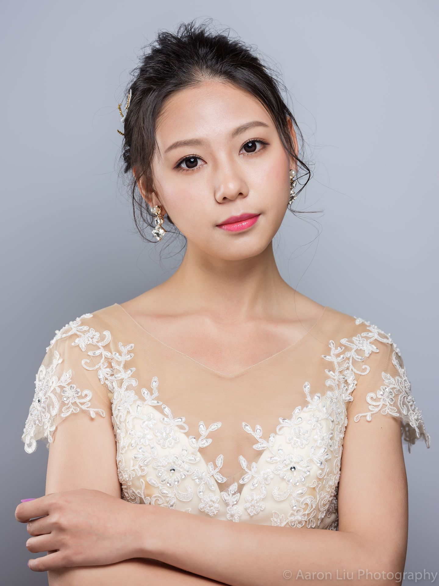 Seattle Asian Bridal Makeup. Seattle Makeup Artist. Bridal updo. Wedding dress.