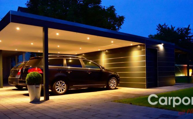 doppelcarport carport bauhaus mit abstellraum aus hpl trespa car port garages sheads. Black Bedroom Furniture Sets. Home Design Ideas