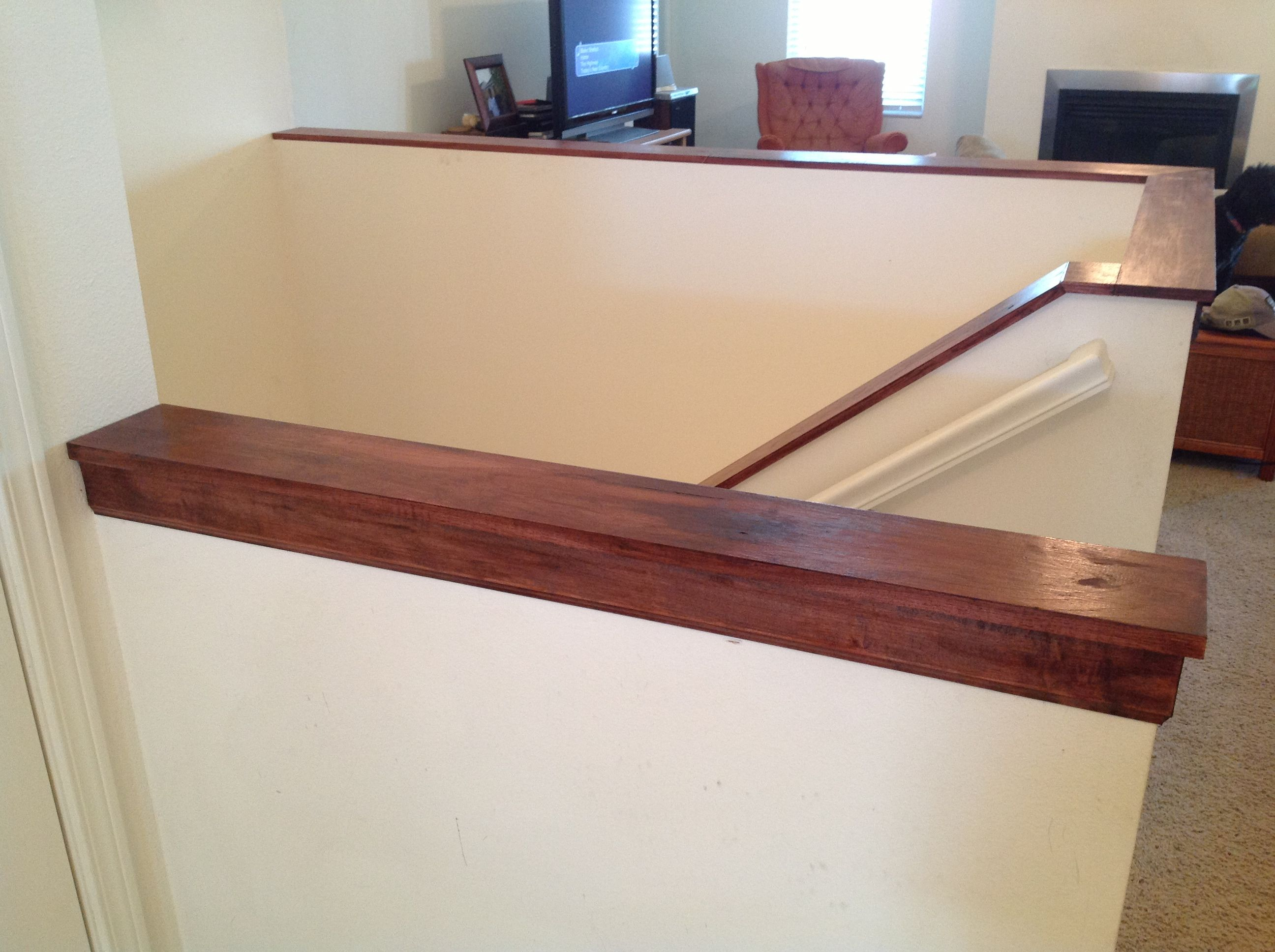 Capped Half Walls Half Walls Basement Stairs Banister Remodel