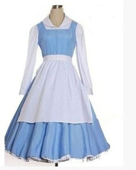 Disney Beauty and the Beast Belle Maid Dress Cosplay Costume