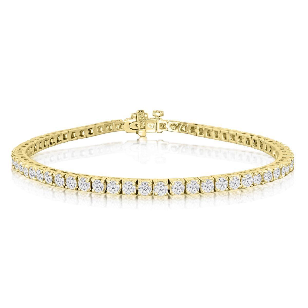 14k Yellow Gold 4 Carat Diamond Tennis Bracelet J K I2 I3 9 Inch Women S White J K Solid Dazzling Jewelry Diamond Bracelets Diamond Bracelets