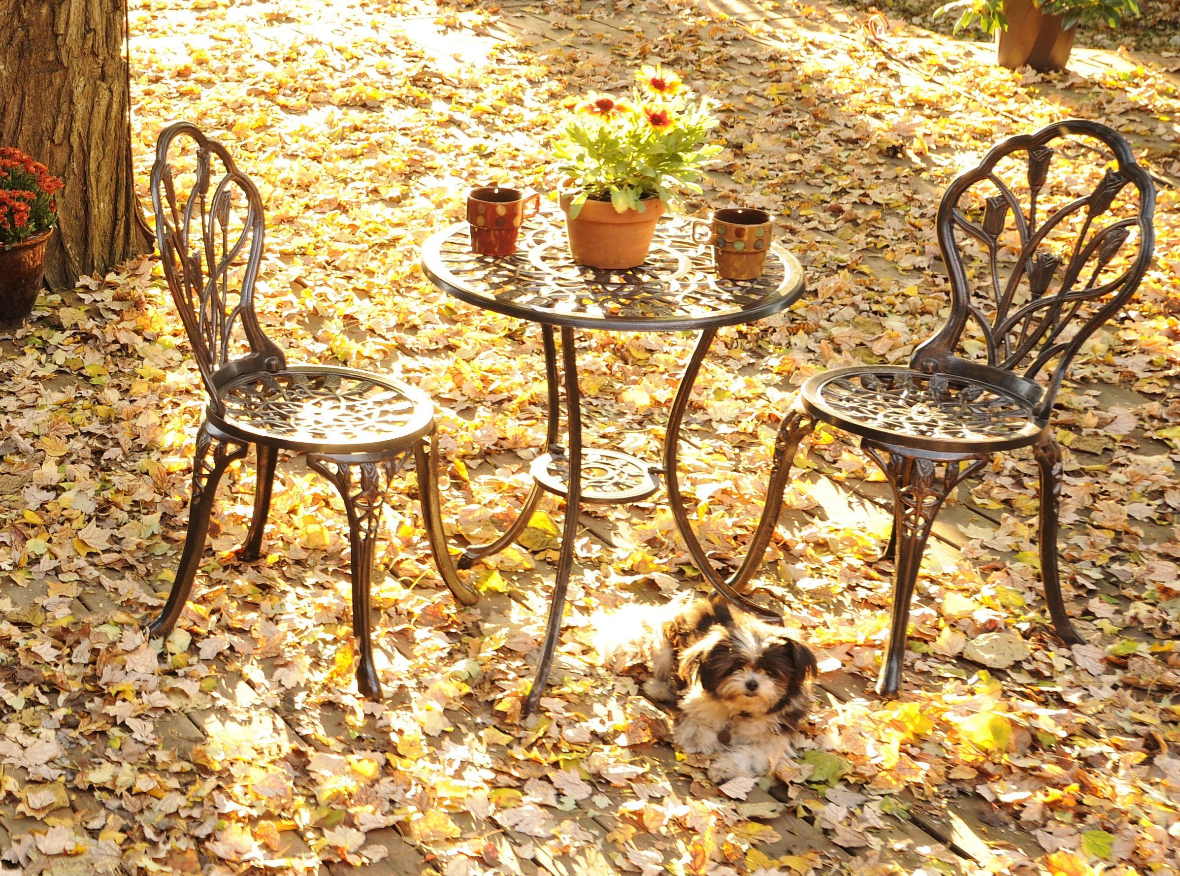 Fleur-de-Lis Bistro, Set of 3 | Bistro set, Patios and Outdoor living