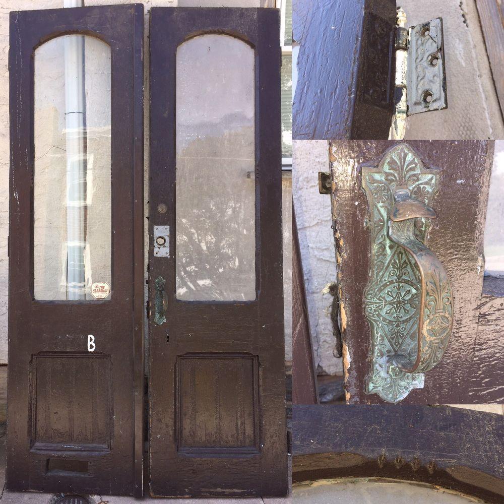 2 Antique Exterior Double Entry Doors Original Victorian Brass ...