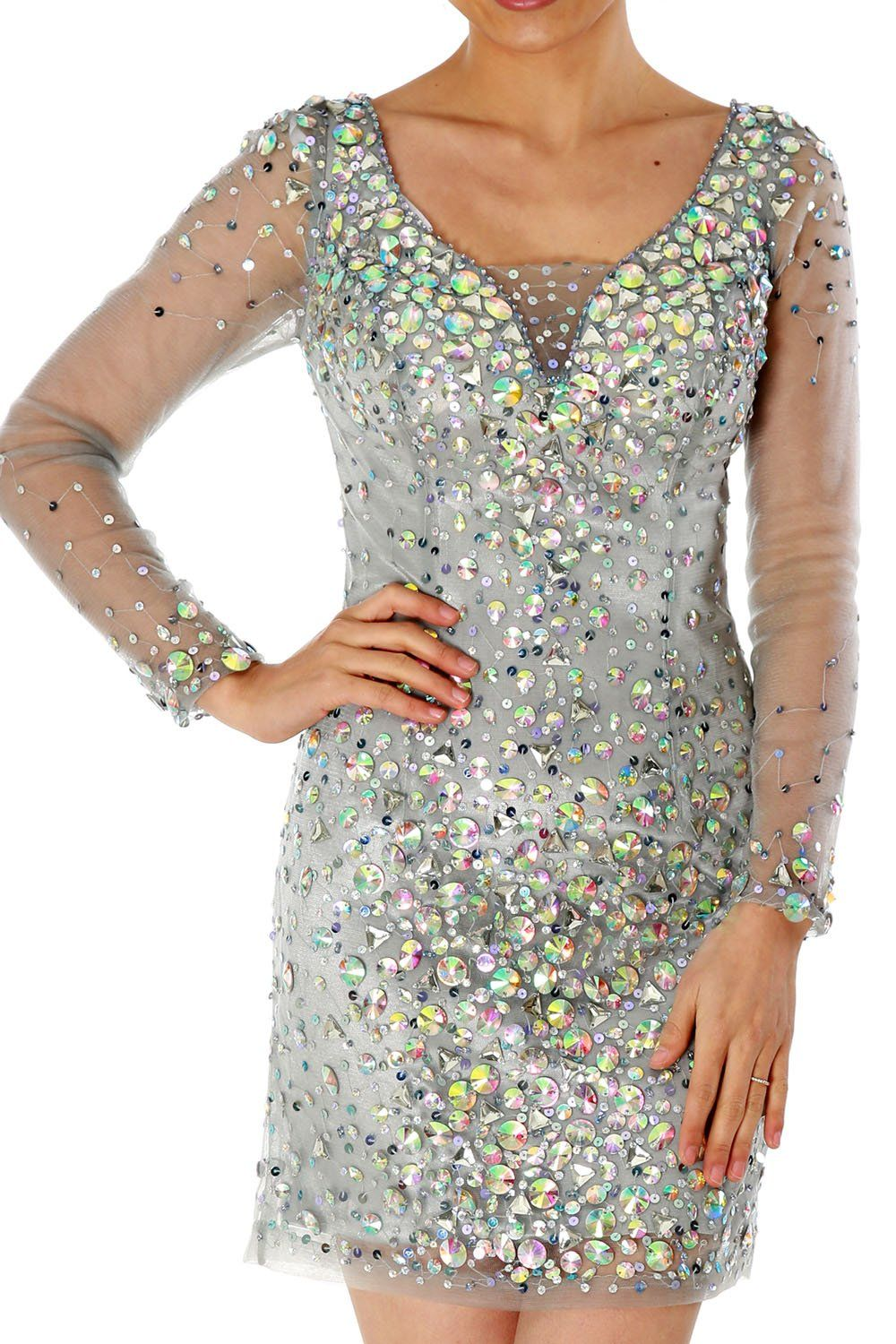 Long sleeves mini crystals prom cocktail party dresses mini formal