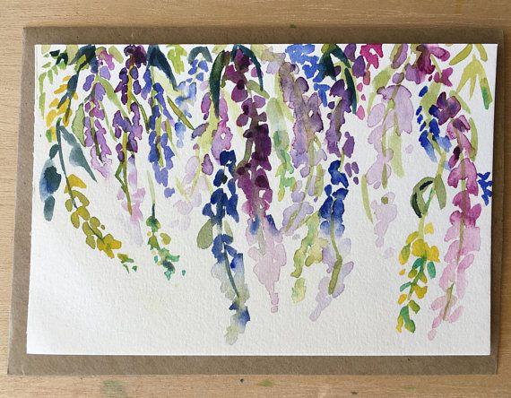 Entzuckend Wunderbar Dies Ist Ein ORIGINAL Aquarell Malerei Auf Postkarte. Schöne Und  Originelle Blumen Postkarte