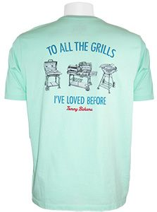 f80e9f83 The Tommy Bahama To All The Grills T-Shirt in Ice Turquoise is ready for a  bbq, features enzyme washed combed cotton jersey with a back screen grill  graphic ...