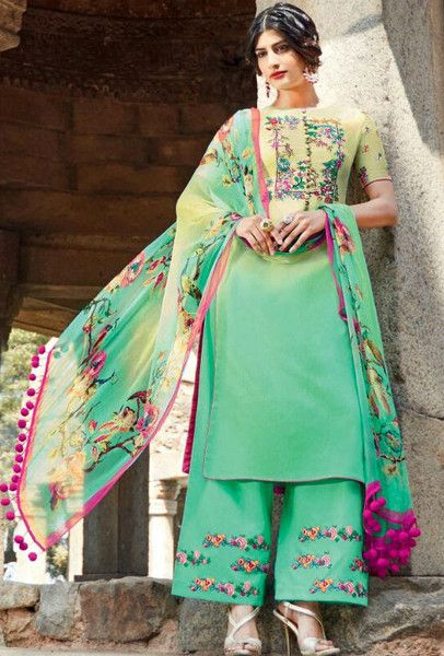 0553e90c6f Green and mint embroidered suit - Desi Royale | anarkali | Palazzo ...