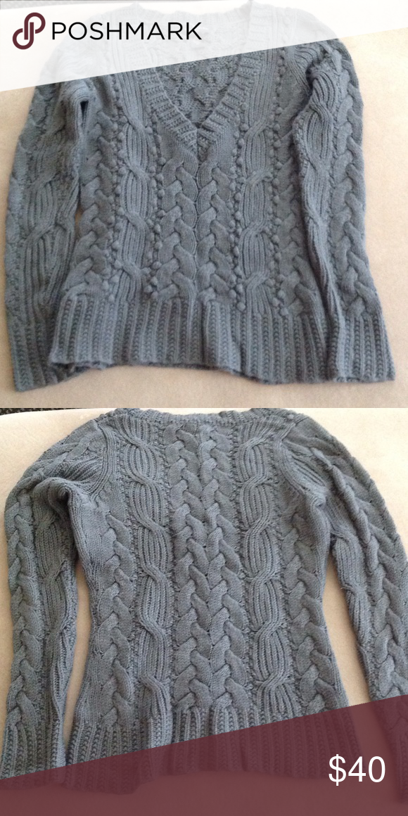 Banana Republic Cable Knit Sweater Gray Banana Republic