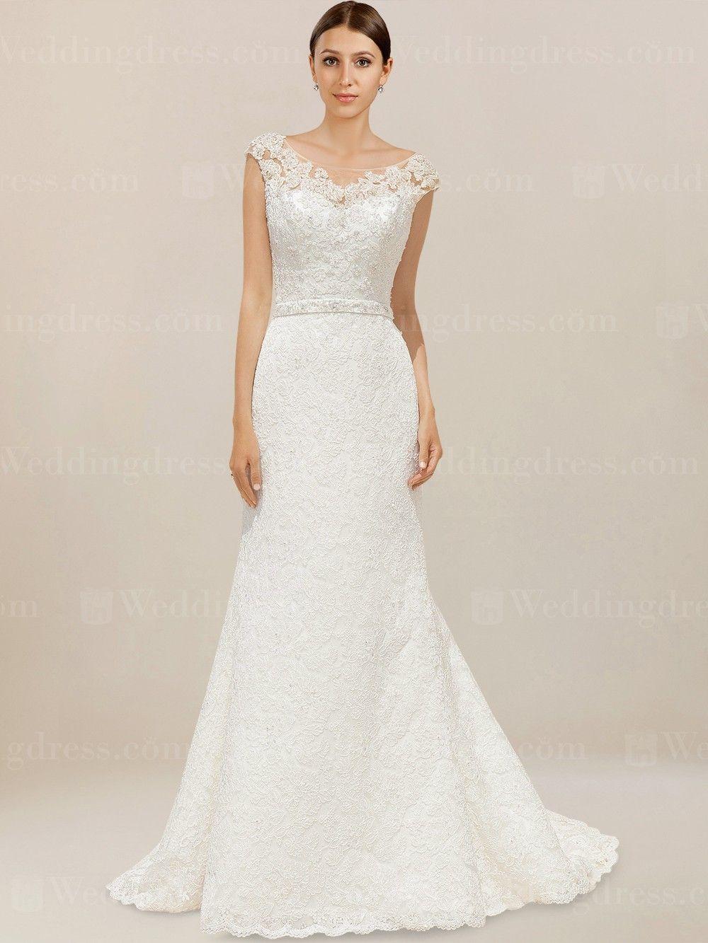 Lace cap sleeve wedding dress lc bateau neckline wedding dress
