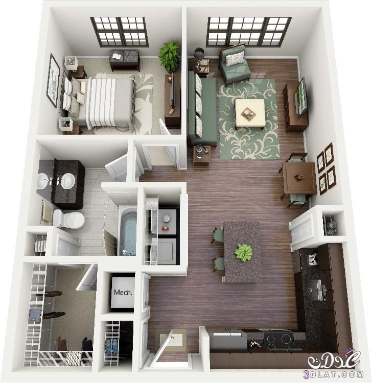 صور خرائط وتصاميم منازل و شقق مساحات صغيرة ومتوسطة تصاميم بيوت صغيرة مخططات منازل Apartment Layout One Bedroom Apartment Small House Plans