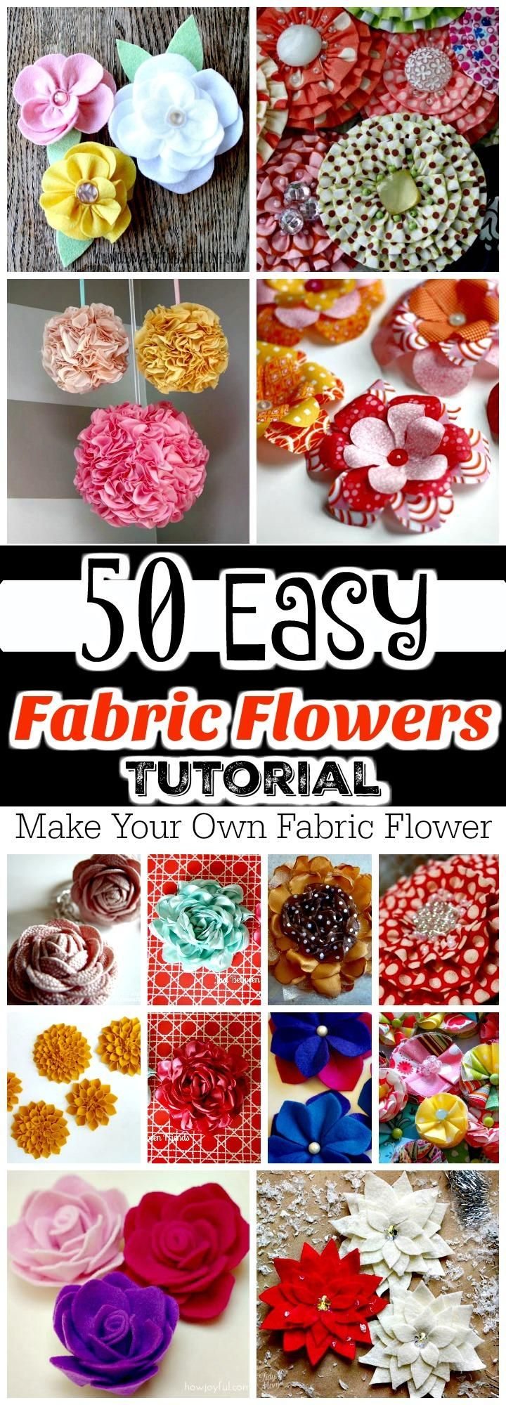 50 Easy Fabric Flowers Tutorial - Make Your Own Fabric Flowers -   18 ribbon flower crafts