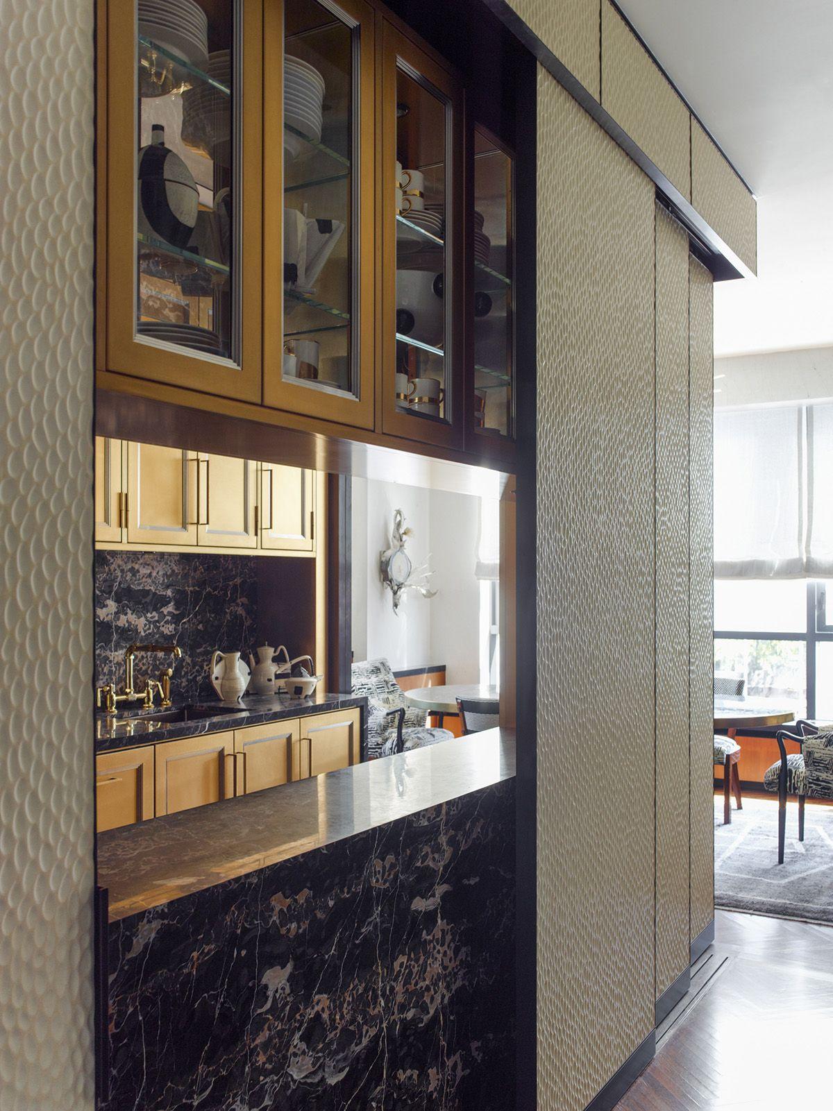 KELLY WEARSTLER | INTERIORS. Sliding Doors Reveal An Open Kitchen/bar  Entertaining Space.