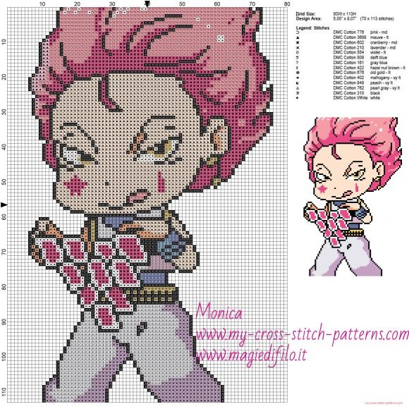 Hisoka (Hunter x Hunter) cross stitch pattern | Embroidery | Cross