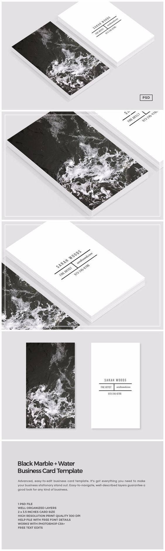 Black Marble Water Business Card Template Carte D Affaire Cartes De Visite Originales Modele Carte De Visite