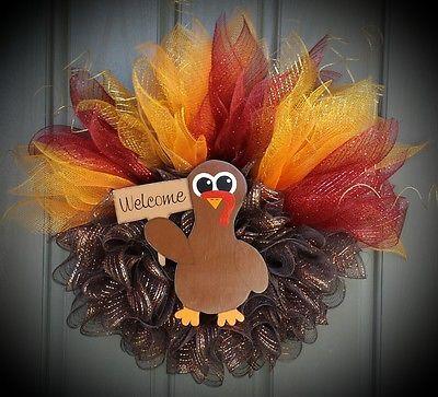 Thanksgiving Fall Turkey Mesh Wreath Crafts For Kids