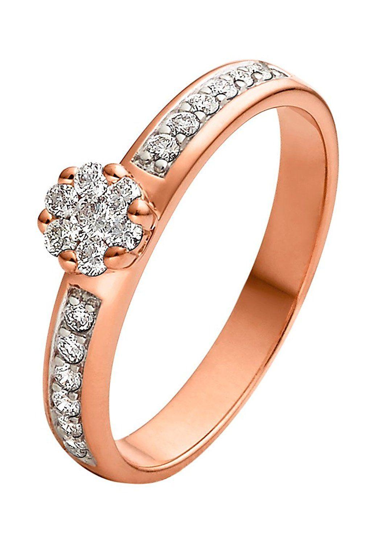 Christ Diamonds Damen Ring 585er Rotgold 19 Brillanten Zus Ca 0 30