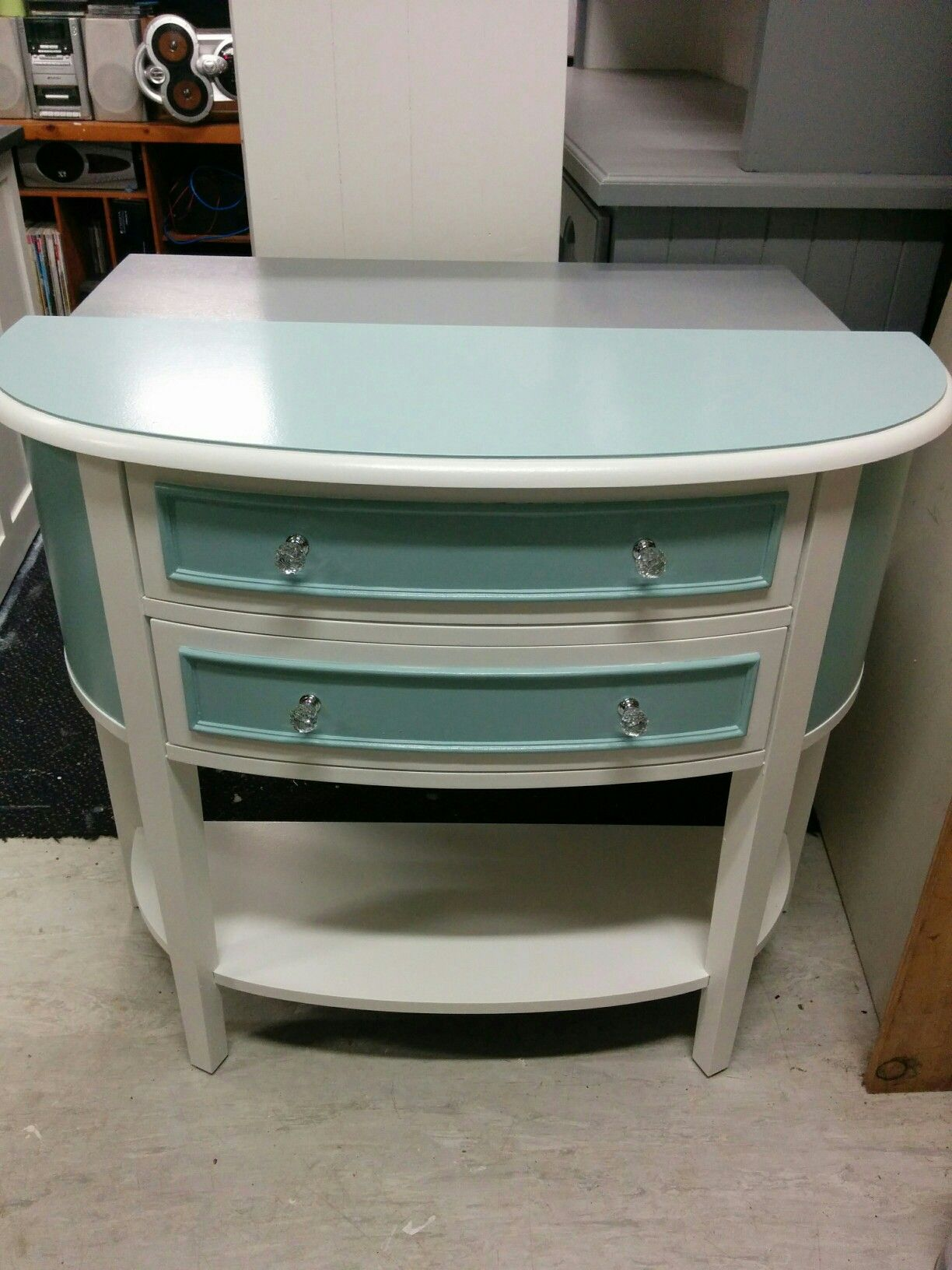 After duck egg blue antique white crystal knobs