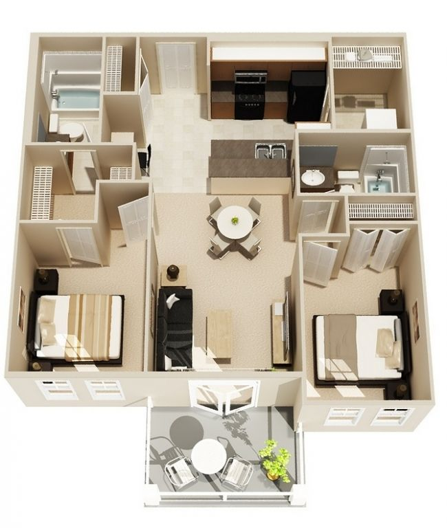 Simple 2 Bedroom House Designs Captivating 50 Plans 3D D'appartement Avec 2 Chambres  Tiny Houses House And Design Ideas