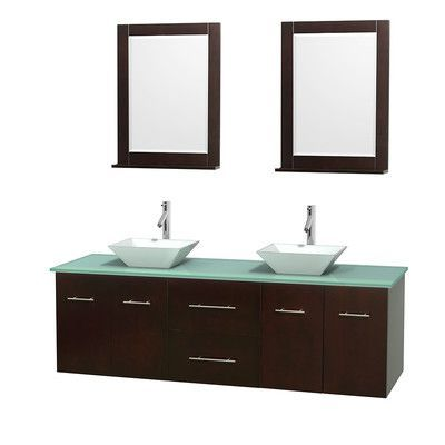 """Wyndham Collection Centra 72"""" Double Espresso Bathroom Vanity Set with Mirror Sink Finish: White Carrera Marble"""