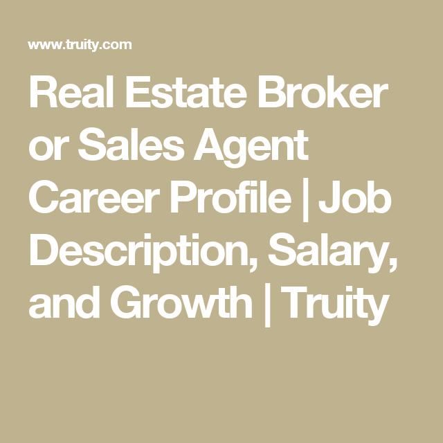 Real Estate Broker or Sales Agent Career Profile   Job Description ...